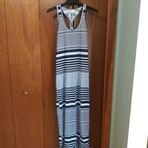 New Feathers Blue/White Striped Maxi